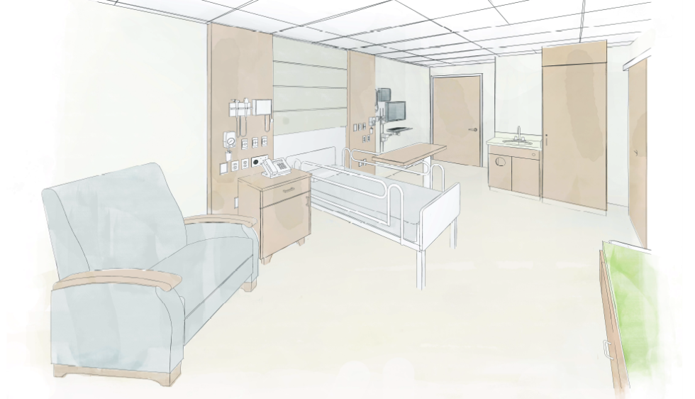 Patient Room Renovation and Expansion rendering